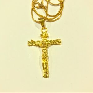 Gold Plated Cross Necklace Unisex
